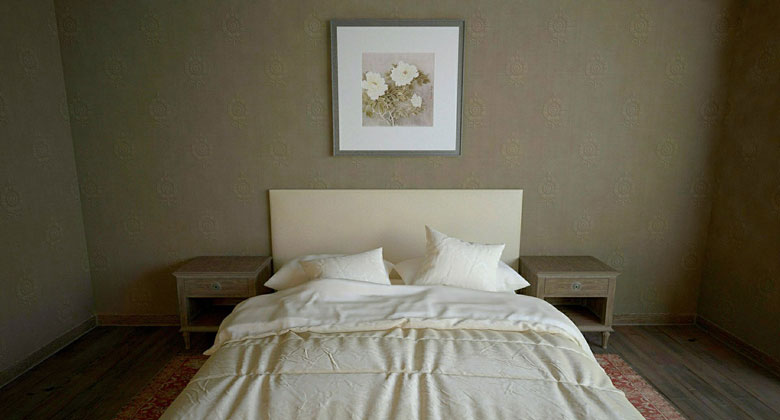 Bed with headboard on the wall